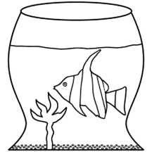 Learn Fish Life in Fish Tank Coloring Page