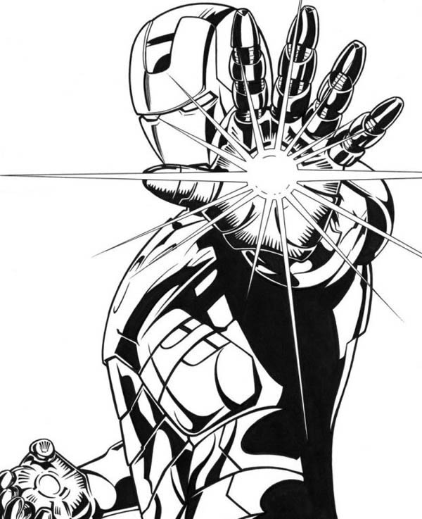 iron man coloring pages - lighting palm of iron man coloring page netart