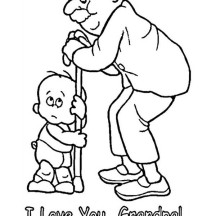 Little Baby Love His Grandpa in Gran Parents Day Coloring Page