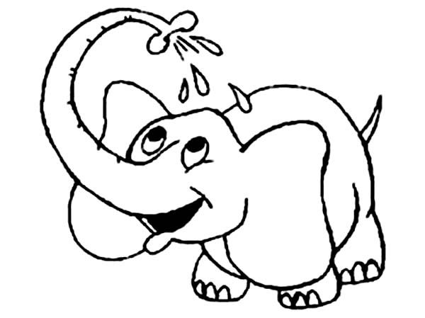 Little Elephant Take a Bath Coloring Page - NetArt