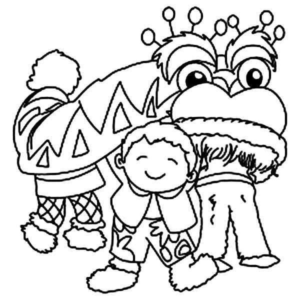 Little Kid Playing With Lion Head In Chinese Symbols Coloring Page