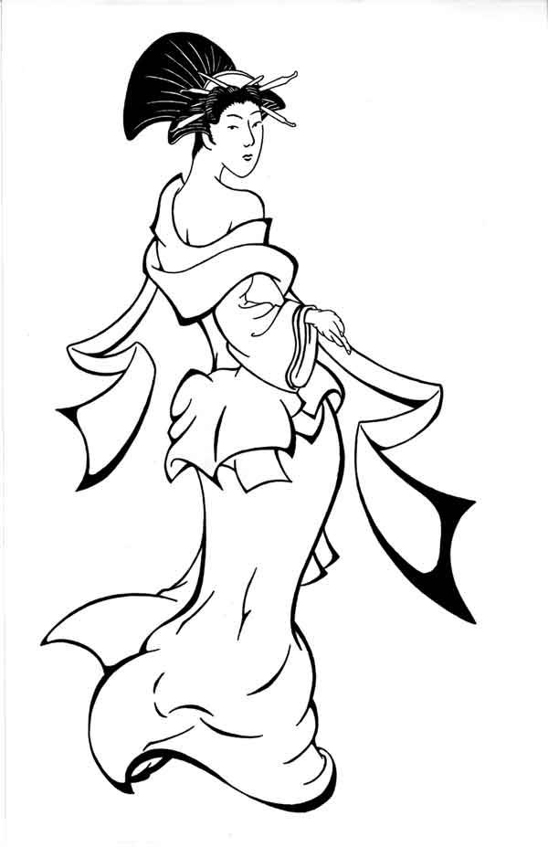 Lovely Geisha Girl Coloring Page