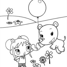 Lulu Playing Balloon with Kai Lan in Ni Hao Kai Lan Coloring Page