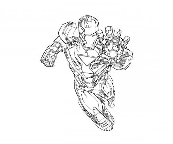 Mark 6 is on Duty in Iron Man Coloring Page NetArt