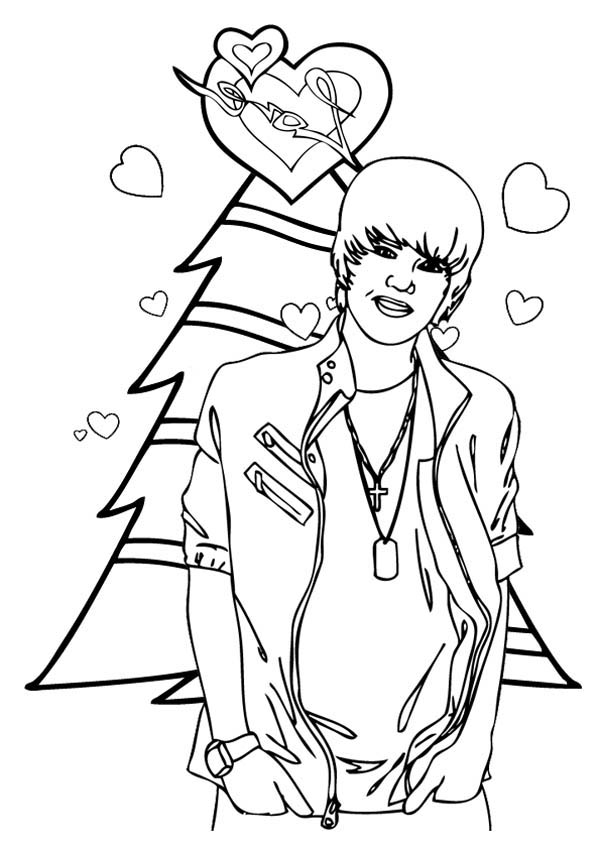 merry christmas justin bieber coloring page