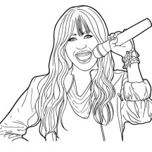 Miley Hold Microphone in Hannah Montana Coloring Page
