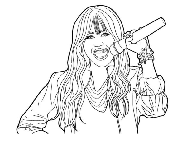 hannan montana coloring pages | Miley Hold Microphone in Hannah Montana Coloring Page - NetArt