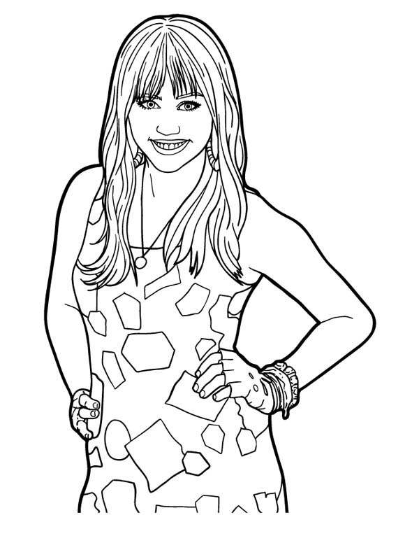 Miley stewart posing in hannah montana coloring page netart for Montana coloring pages