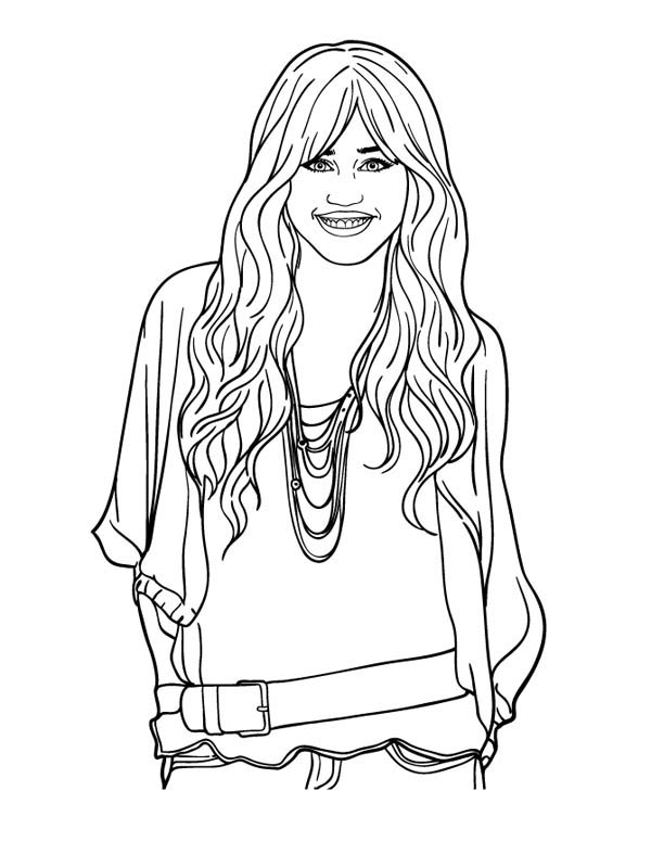 Miley Stewart Smile in Hannah Montana Coloring Page
