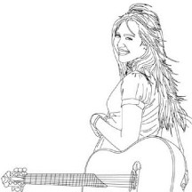 Miley Stewart and Her Guitar in Hannah Montana Coloring Page