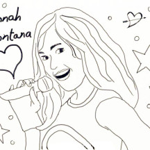 Miley is Love to Sing in Hannah Montana Coloring Page