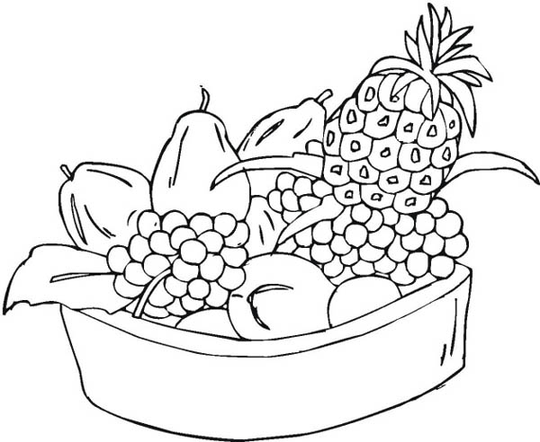 Mixed Fruit in One Bowl Coloring Page - NetArt
