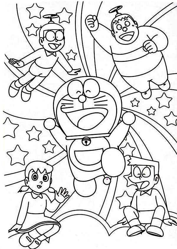 Nobita Shizuka Suneo Giant Doraemon Happy Together Coloring Pages