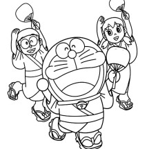 Nobita Shizuka and Doraemon Wearing Yukata Dance Together Coloring Pages