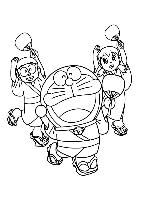 nobita shizuka and doraemon wearing yukata dance together coloring pages - Doraemon Colouring Book
