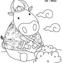 Ox in Chinese Symbols Coloring Page