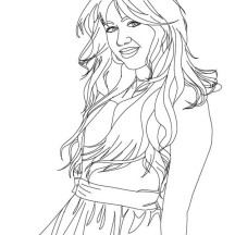 Photo of Miley Cyrus in Hannah Montana Coloring Page