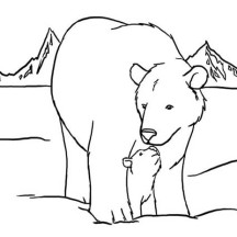 Polar Bear and Her Baby Coloring Page