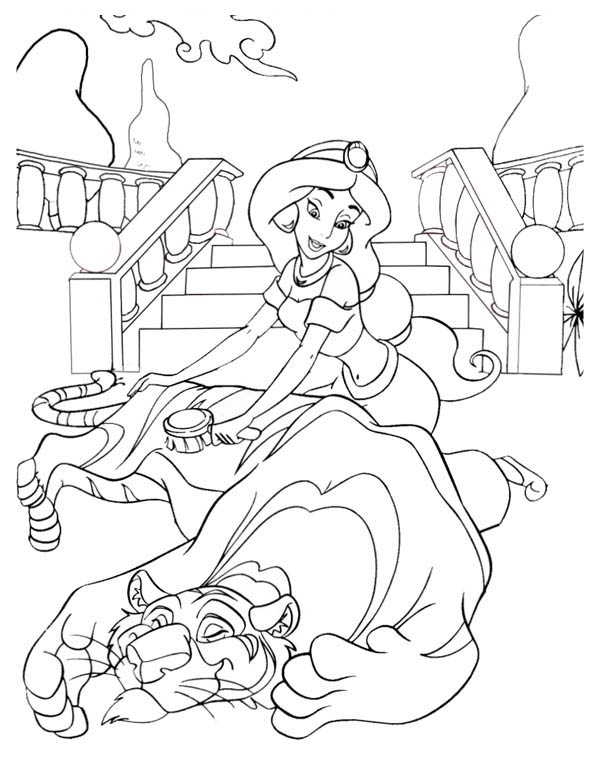 Princess Jasmine Brush Rajah Fluffy Hair Coloring Page