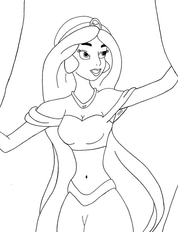 Princess jasmine open the curtain coloring page netart for Jasmine the princess coloring pages