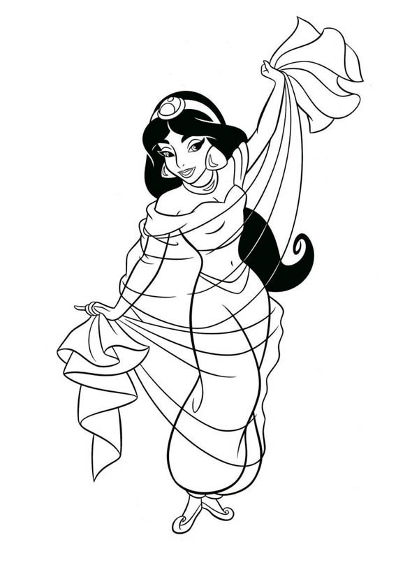 Princess Jasmine Waering Beautiful Dress Coloring Page