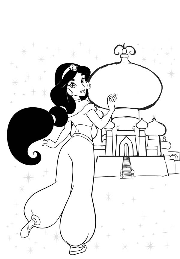 Princess Jasmine is Going Home to Her Palace Coloring Page