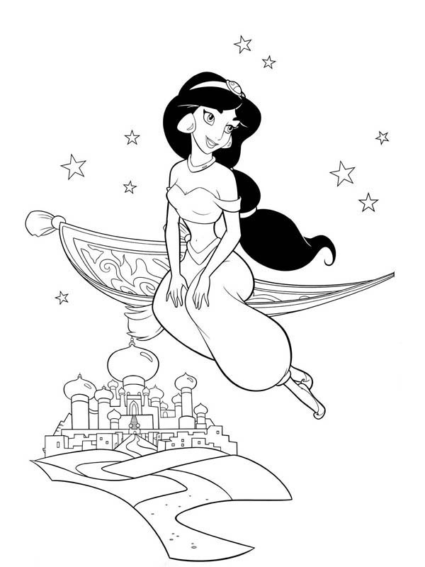 Princess Jasmine on Magic Carpet Coloring Page