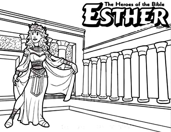 Queen Esther The Bible Heroes Coloring Page - NetArt