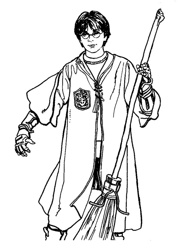 quidditch player harry potter with firebolt coloring page - Harry Potter Coloring Pages