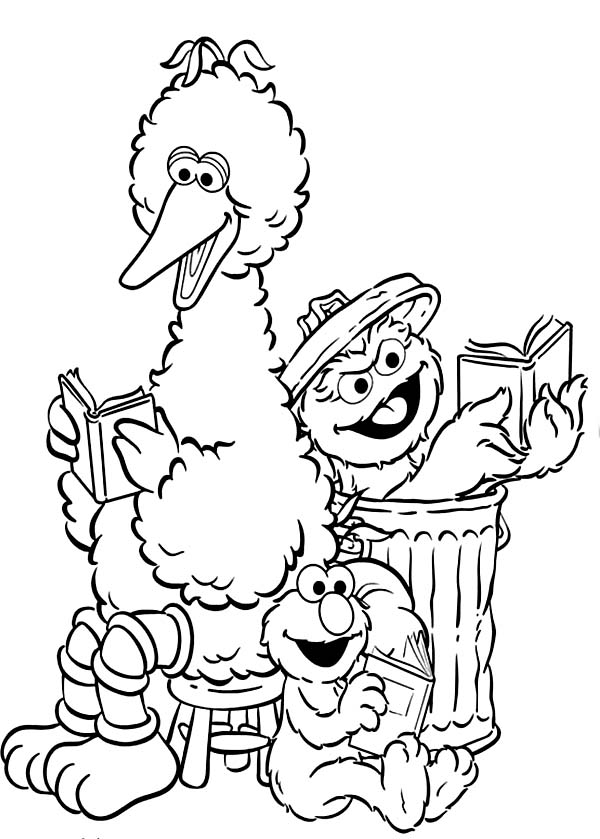 Sesame Street Elmo and Friends Coloring Page - NetArt