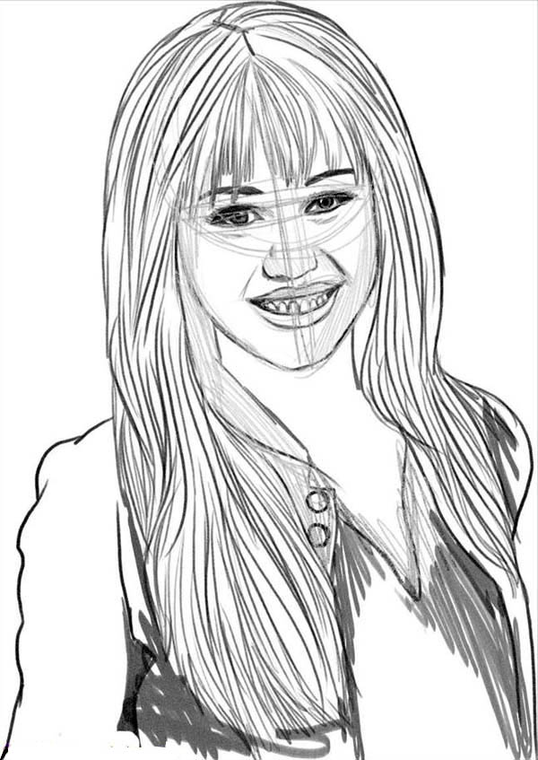 Sketch Miley Stewart of Hannah Montana Coloring Page