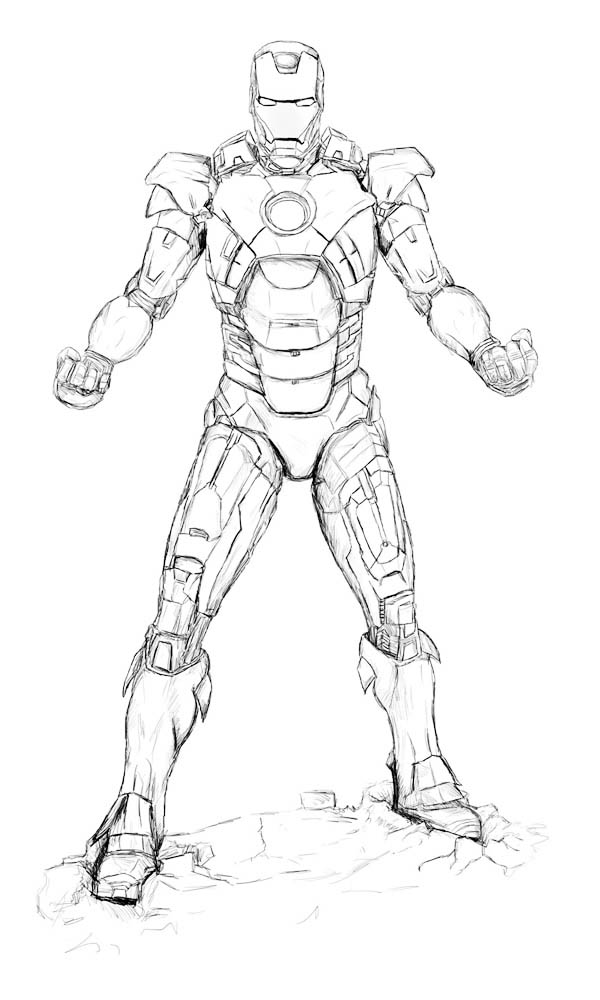 Sketch of Iron Man Coloring Page NetArt