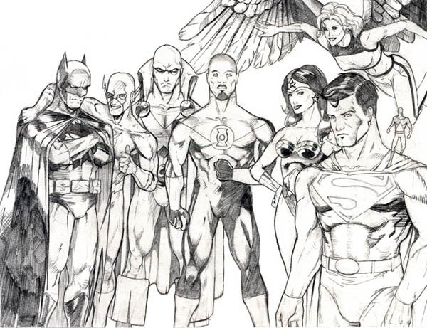 Sketch of Justice League Coloring Page