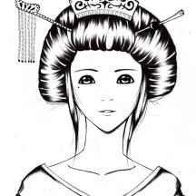 Sketch of a Geisha Coloring Page