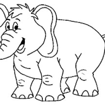 Smiling Elephant Coloring Page