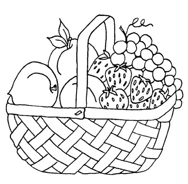 Strawberry and Other Fruit in the Basket Coloring Page - NetArt