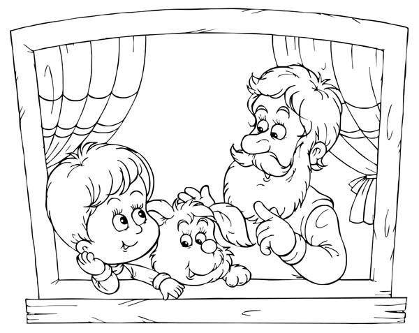 Talking with Grandfather in Gran Parents Day Coloring Page