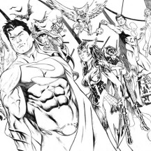 The Justice League Ready for Battle Coloring Page
