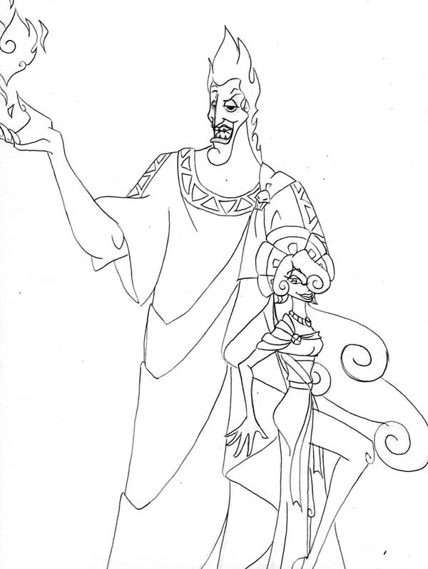 The King of Underworld Hades and Megara Coloring Page
