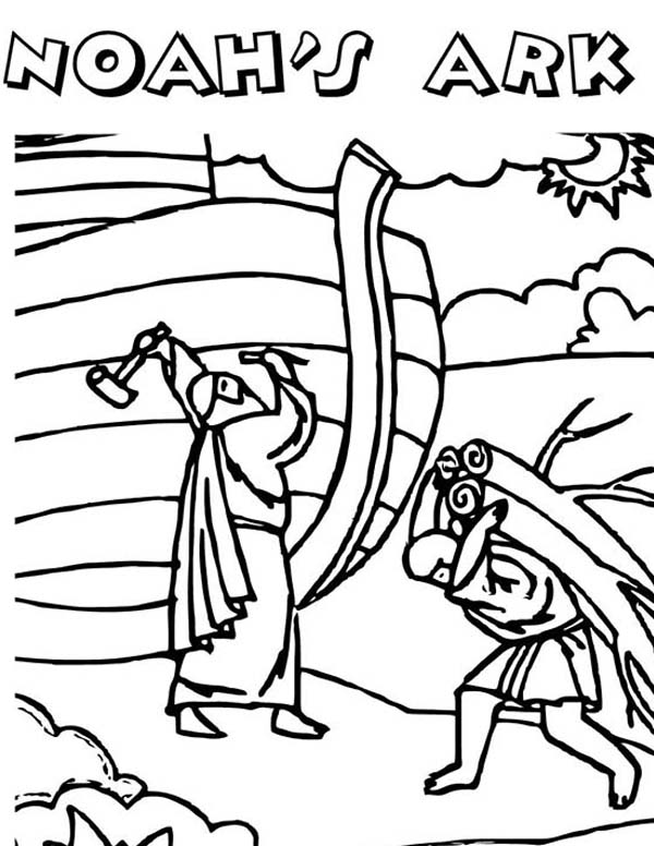 The Making Of Noahs Ark In Bible Heroes Coloring Page