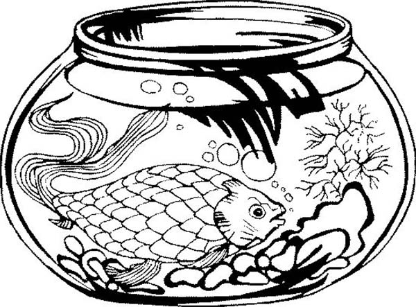 This Fish Tank is Too Little for That Fish Coloring Page