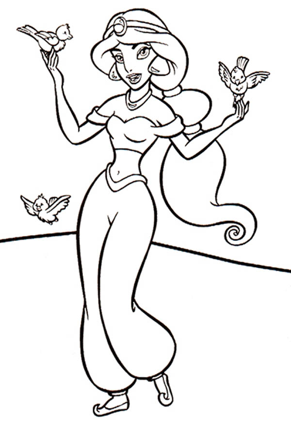 Three Little Birds and Princess Jasmine Coloring Page NetArt