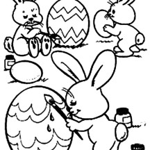 Three Rabbit Painting Easter Eggs Coloring Page