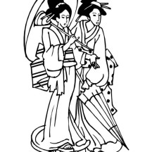 Two Beautiful Geisha Coloring Page