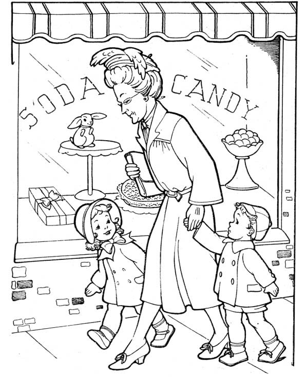 Visiting Grandparents on Gran Parents Day Coloring Page