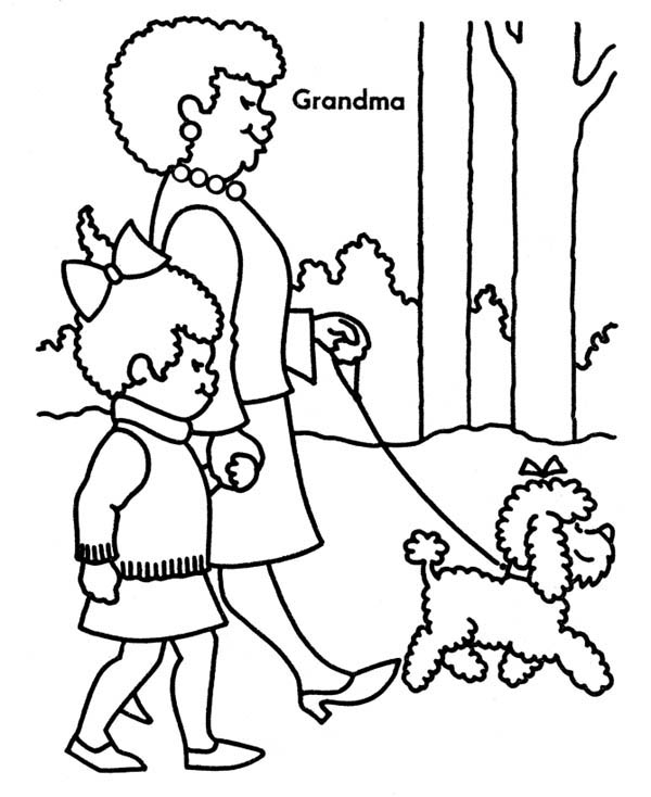 Walking the Dog with Grandma on Gran Parents Day Coloring Page