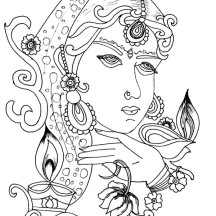 Wear the Best Outfit for Diwali Celebration Coloring Page