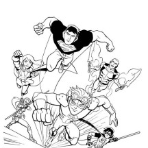 Young Justice League in Action Coloring Page