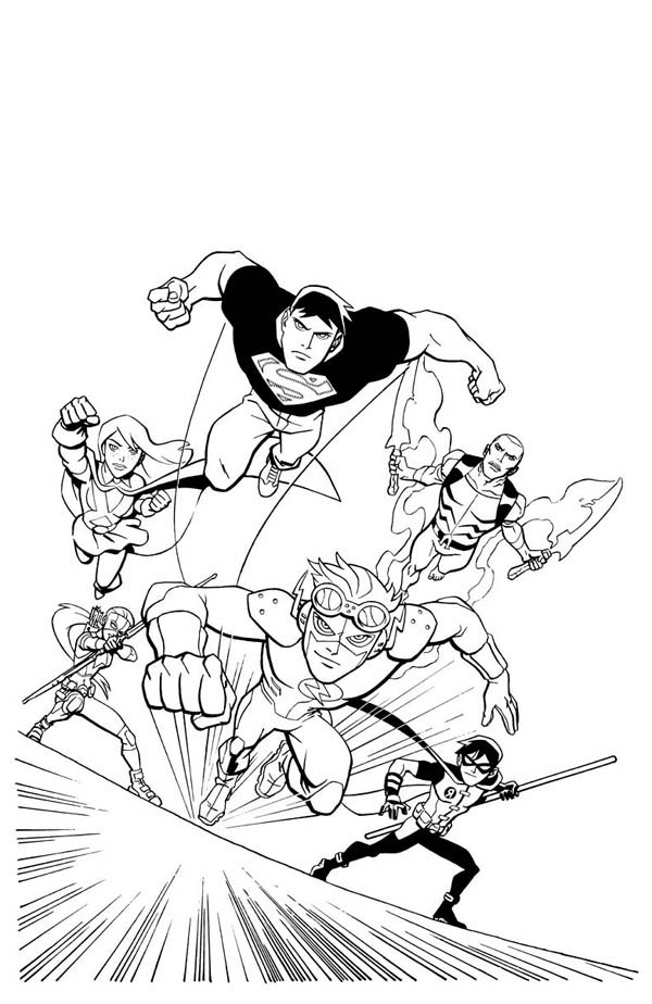 Here: Home Justice League Young Justice League in Action Coloring Page