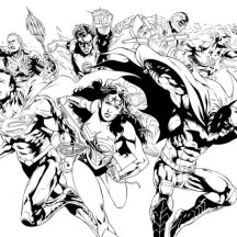 Justice League Pencil Drawing Coloring Page